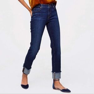 Loft frayed cuff straight jean, size 8